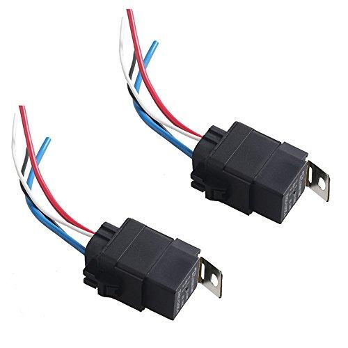 E Support™ 2 X 40A 12V kit voiture relais 4 broches pour la pompe ¨¤ carburant imperm¨¦able prise de courant fil fer retour harnais Moto