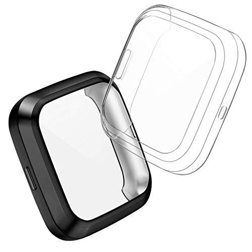 CAVN Hülle Kompatibel mit Fitbit Versa 2 Schutzhülle Schutzfolie [2-Stück], Flexibles TPU Vollschutz Display Schutz Schutzhülle Full Coverage Stoßfestes Displayschutz Hülle für Versa 2 NUR