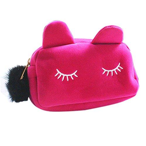 Portable Dessin animé de chat étui de rangement de pièce de monnaie de voyage maquillage Flanelle Pouch Trousse cosmétique rose rose 19cm x 5cm x 12cm