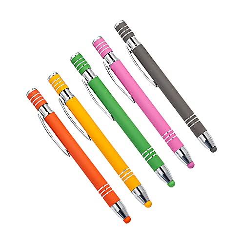 CJBIN Touchpen, 5 Stück Handystifte Touch 2 in 1 Stylus Kugelschreiber mit Touchpen Screen Eingabestift Multifunktionaler Tablet Stift für iPad iPhone Kindle Notiz Tab Schreibwaren usw (5 Farben)