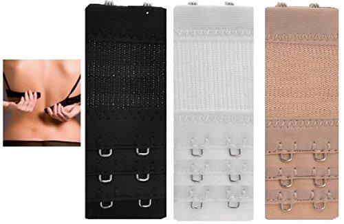 3 prolongateurs Bretelle 2 x 2 crochets RALLONGE Extension bretelles de soutien-gorge en 3 couleurs (noir blanc nu)