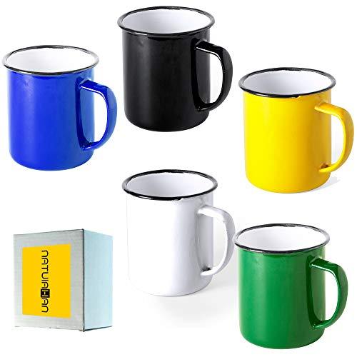 Natuiahan 5 Tazas de Metal Esmaltado. Set de 5 Tazas de Diseño Vintage. Acabado con Imperfecciones. Negro, Amarillo, Blanco, Verde y Azul.