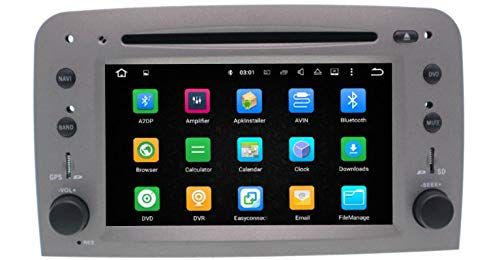 Sunshine Fly Android 8.0 Quad Core 1.6 GHz Auto Radio DVD Player para Romeo 147 GT con GPS Navegación BT USB SD FM AM Stereo WiFi Color Gris Plata