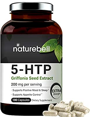 NatureBell 5-HTP Supplement, 200mg Per Serving, 180 Capsules, Support Serotonin Boost, Mood and Sleep, Non-GMO