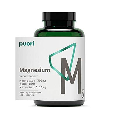 Puori - M3 High Quality Magnesium, Vitamin B6 11mg, Magnesium 300mg, Zinc, 15mg, Malic Acid 300mg
