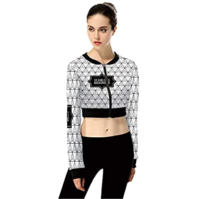 Abstract Black White Monochrome FashionWomen's Long Sleeve Zipper Up Solid Crop Top Jacket for Sports,M by C COABALLA