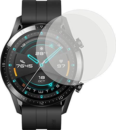 4ProTec I 2X Schutzfolie KLAR passexakt für Huawei Watch GT 2 GT2 46 mm Durchmesser Bildschirmschutzfolie Displayschutzfolie Schutzhülle Bildschirmschutz Bildschirmfolie Folie