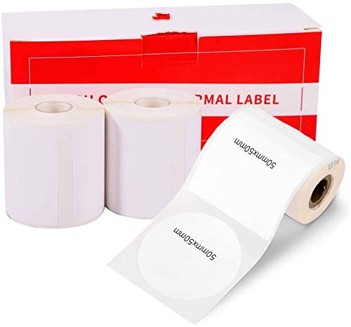 """Compatible with Phomemo M110, M200 Label Printer Round Paper, Sticker Multi-Purpose Label Tape Self-Adhesive Thermal Paper, Black on White, 1.96""""x1.96"""" (50mm50mm) 140 Labels/Rol, 3-Roll"""