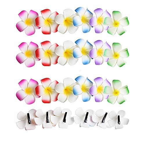 24 pinzas de pelo de flor de plumeria hawaiana de espuma con...