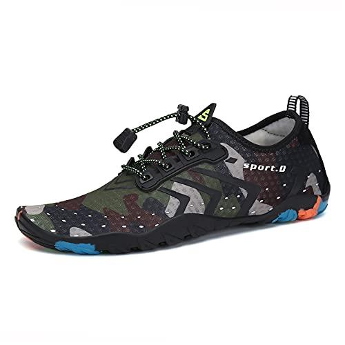 SAGUARO Minimalistische Laufschuhe Herren Damen Atmungsaktiv Traillaufschuhe Fitness Hallenschuhe Dunkelgrün 41 EU