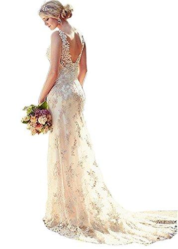Vivibridal Women's Double V-Neck Backless Lace Applique Mermaid Wedding Dresses Ivory US8 (Apparel)