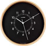 LAiMER Orologio da parete in legno d' acero con quadrante nero, diametro 30 cm, movimento al quarzo con batteria, facile da leggere - per cucina, soggiorno e camera da letto - decorazione