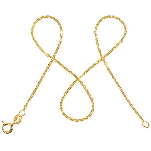 modabilé Ankerkette Damen Halskette Vergoldet aus 925er Silber (50cm I 1,55mm breit) I Silberkette Damen 925 ohne Anhänger I Zarte Goldene Kette für Frauen + Etui I Goldkette Produziert in Europa