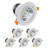 KSIBNW Paquete de 6 Luces LED para Empotrar en Eel Techo,Foco COB de 5 W,Blanco Frío 6000K 500 lm AC 220-240 V,Recorte de 65-80 mm,Foco con ángulo de haz IP44,120 °para Dormitorio y Baño (Blanco)