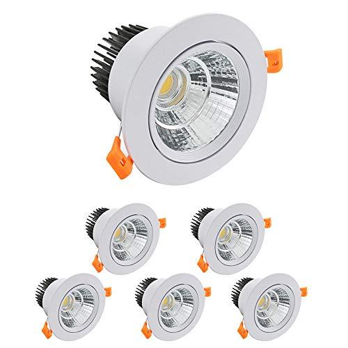 KSIBNW Paquete de 6 Luces LED para Empotrar en Eel Techo,Foco COB de 9 W,Blanco Frío 6000K 900 LM AC 220-240 V,Recorte de 90-100 mm,Foco con ángulo de haz IP44,120 °para Dormitorio y Baño (Blanco)