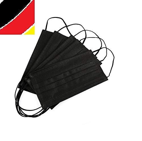 10 x Mundschutz Masken schwarz Einweg Mund Nase Bedeckung Gesicht 3 lagig Community Hygiene Behelfsmaske (10) (17,6 x 9,5 cm, schwarz, 10)