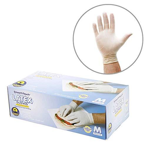 Sunset LAT102PF M SmoothTouch Disposable Latex Gloves - Powder Free - Medium - 100 Gloves