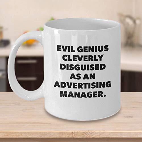 Divertida taza de caf para el administrador de publicidad Mejor nombre personalizado Regalos para anunciantes Gerente de ventas Genio malvado inteligentemente disfrazado
