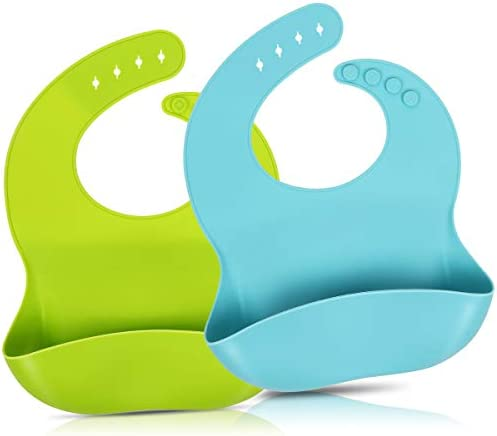 2 Pack Silicone Baby Bibs for Babies Toddlers 6 72 Months Waterproof Soft BPA Free Easy Clean product image