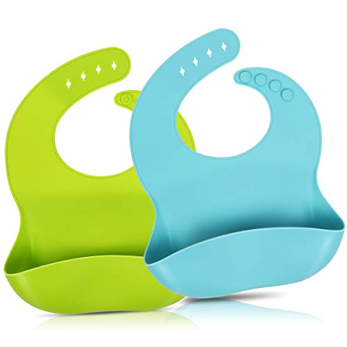 2 Pack Silicone Baby Bibs for Babies & Toddlers (6-72 Months), Waterproof, Soft, BPA Free, Easy Clean up, Adjustable Snaps for Infants and Toddlers with Large Food Catcher Pocket(Blue and Green)