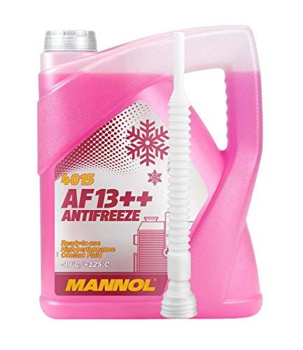 MANNOL 5 Liter, AF13++ -40°C Antifreeze Kühlerfrostschutz Fertigmischung G13 inkl. Schlauch