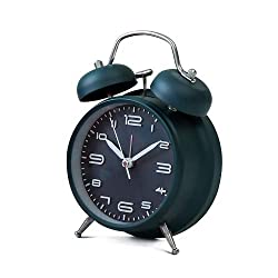 4 inches Twin Bell Alarm Clock with Backlight,Silent Non-Ticking,Battery Operated,Loud Wake Up Alarm Clock(Navy)