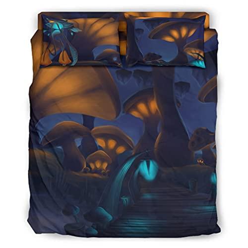 Wandlovers Juego de cama de 4 piezas, diseño de seta de fantasía, ultrasuave, funda nórdica y fundas de almohada, color blanco, 203 x 230 cm
