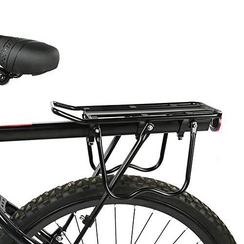Portaequipajes de bicicleta negro trasero duradero, estante de bicicleta, aleación de aluminio...