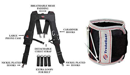 TradeGear - Tirantes para cinturón de herramientas con correa de muñeca magnética