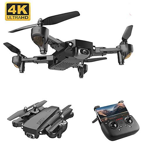 Yxs Drone GPS con la cámara 4K, a 1500 m de Vuelo, de 5 GHz Wi-Fi FPV vídeo en Directo RC Quadcopter, una función de estabilización del cardán, el Nivel 7 Resistencia al Viento, 2 baterías,Negro
