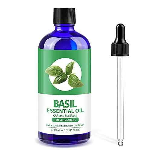Lagunamoon Aceite esencial de albahaca natural puro, botella grande de 150 ml de aceite de albahaca orgánico para difusor, masaje de aromaterapia, cuidado de la piel, velas de bricolaje, baño