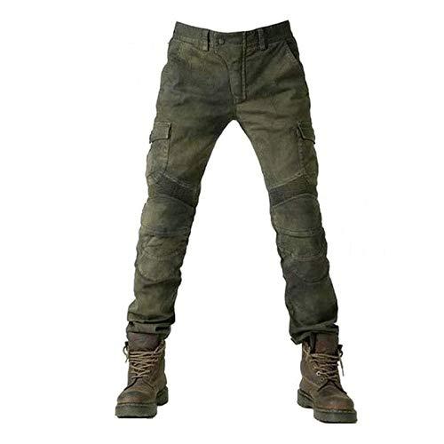 ALPHA RIDER Jeans da moto uomo con protezioni Pantaloni da ciclismo Verde militare XL