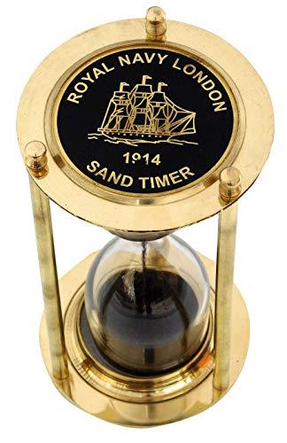 AI | 5 MIn Brass London 1917 Sand Timer with Rear Black Sand (Size 5 inch)