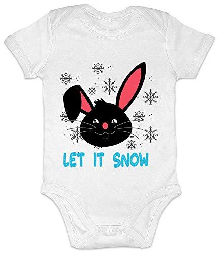 Hariz - Body de manga corta para bebé, con diseño de conejo de nieve, regalo de Navidad, Navidad, tarjetas de regalo para el invierno, color blanco