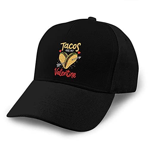 Gorra de Beisbol Tacos Are My Valentine Arrow Baseball Dad Cap Adjustable Airvent Cool Hat for Outdoor Activities Men Women Black