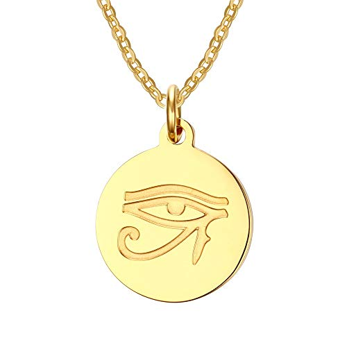 VNOX Stainless Steel 18K Gold Plated Ancient Egyptian Eye of Horus Pendant Necklace,Free Chain