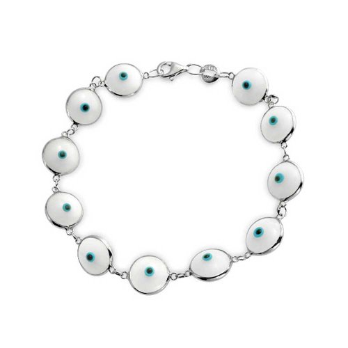 Türkische Multi Weiß Böser Blick GlasBead Strangarmband Für Damen Für Schutz Und Viel Glück 925 Sterling Silber