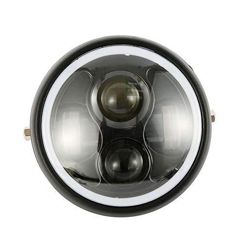 6.5'' Rotondo Faro Moto LED Anello ad Occhio Angelo Impermeabile Faro Lampadina Proiettore con DRL Bianco Angel Eyes (Senza staffa)