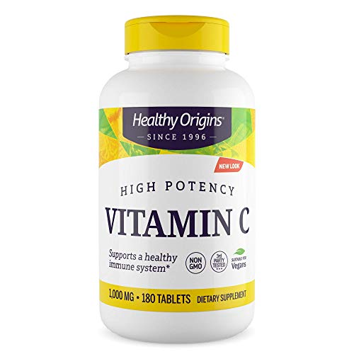 Healthy Origins - Vitamin C 1000mg x 180 Tablets (6 Month Supply) | High Potency Immune Boosting Vitamin C Supplement | Gluten-Free | Soy-Free | Yeast-Free