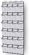 MISSLO Over the Door Shoe Storage Organiser Hanging Shoe Rack Holder 24 Large Mesh Pockets for Wardr...