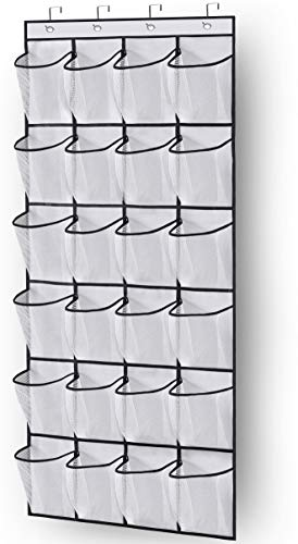 MISSLO Over the Door Shoe Storage Organiser Hanging Shoe Rack Holder 24 Large Mesh Pockets for Wardrobe Door Tidy with Hanger(White)