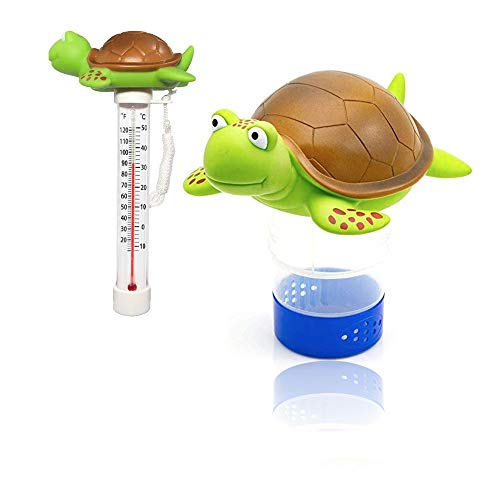 """Chlorine Floater, Turtle Collapsible Floating Pool Chemical Dispenser & Turtle Pool Thermometer,Fits 3"""" Chlorine Tablets,Release Adjustable for Indoor & Outdoor Swimming Pool Hot Tub SPA(2 Pack)"""