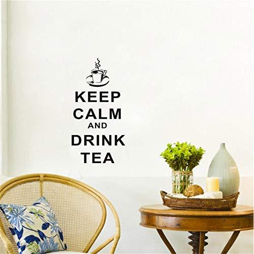 Mddjj motief theekopje, muurstickers, spreuken, rust en drinken, decoratie voor thuis, muren, afneembaar, kunststickers voor thee, in de zomer, 29 x 58 cm