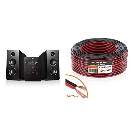 LG CM2760 Kompaktanlage (160 Watt, Bluetooth, USB, MP3) schwarz/rot & Manax Lautsprecherkabel Boxenkabel 2 x 0,75 mm² CCA rot/schwarz 25 m Rolle