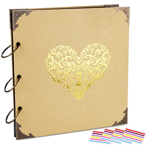 ADVcer Photo Album DIY Scrapbook, 10x10 inch 50 Pages Double Sided, Vintage Hardcover Three-Ring Binder Picture Booth with 408pcs 6 Colors Self Adhesive Photos Corners (Champagne, Gold Blocking Heart)
