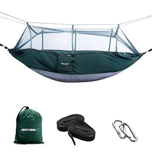 DecoKing 43264 Hangmat Outdoor 260x140 cm met muggennet Ultralicht sneldrogend hangstoel hangstoel Hammock tot 200 kg draagtas karabijnhaak lussen nylon groen grijs staal antraciet
