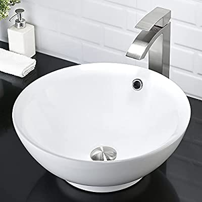 """Bathroom Sink and Faucet Combo- VASOYO 16"""" Round Bathroom Vessel Sink With Overflow White Porcelain Ceramic Vessel Sink Above Counter Sink Art Basin, Faucet and Pop-up Drain Combo"""