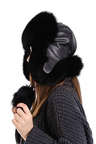 Zavelio Unisex 100% Real Fox Fur Hat S-XL Premium Aviator Russian Ushanka Trapper Winter Genuine Leather Hat (Black)