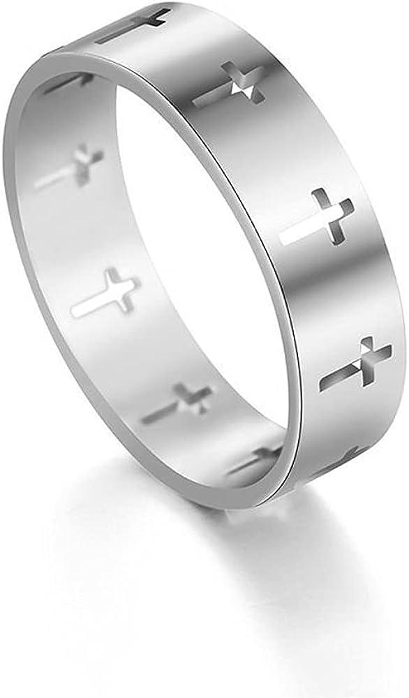 Cross Rings, Cross Rings for Women Men 14K White Gold Plated Cross Jewelry Band Stacking Promise Birthday Gift for Her