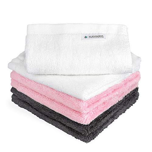 Navaris Washandje Set 6 stuks baby bamboe washandje - 25x25cm zachte doek - reinigingsdoeken washandje - milieuvriendelijk wasbaar roze